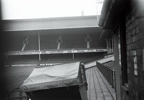 Leicester City Football Club. Filbert Street view of double decker stand (now demolished)
