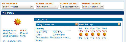 Rare weather forecast for Wellington
