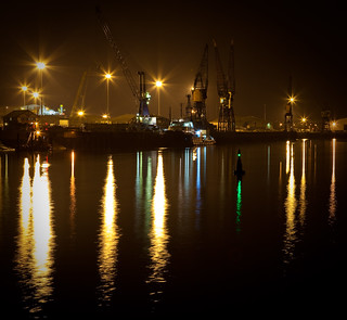 Hartlepool docks at night
