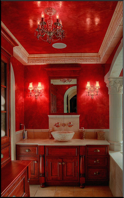 Stunning Red Grassello Master Bath Up Close Flickr Photo Sharing