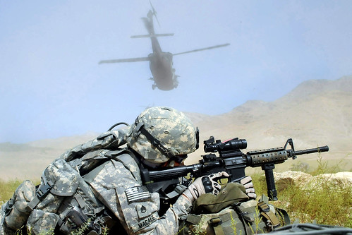 Staff Sgt. Francis Macale secures the landing zone