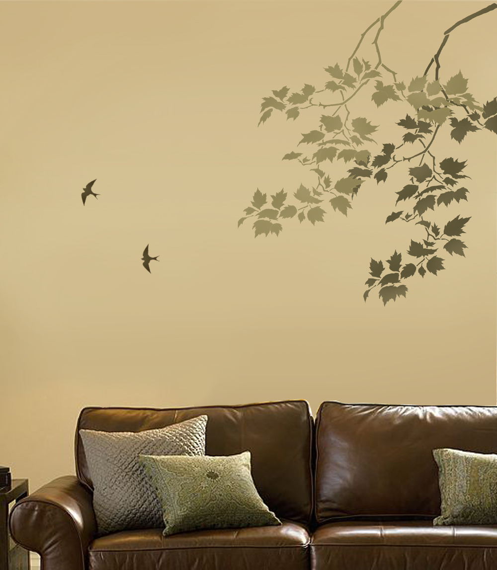 Reusable Wall Stencil Sycamore Branches and Birds. Beautiful wall ...