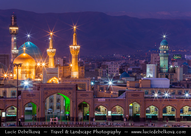Iran - Mashhad- Imam Reza Holy Shrine at Dusk - Blue hour - Twilight - Night