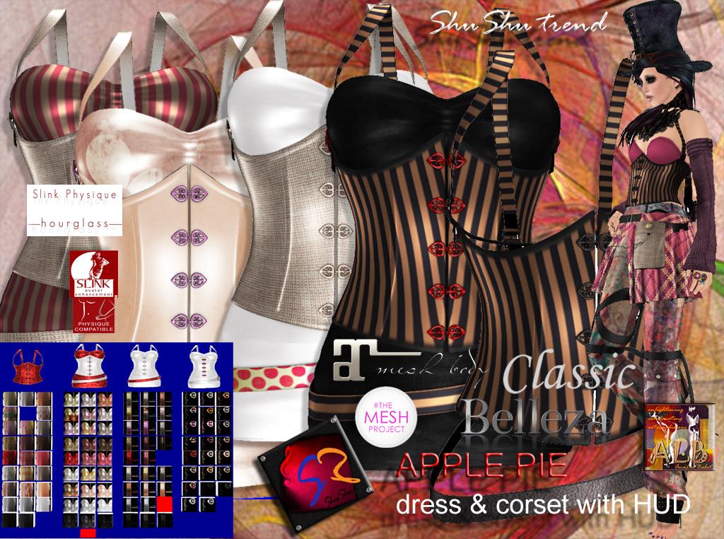 ShuShu APPLE PIE corset & dress with hud to SLink Maitreya