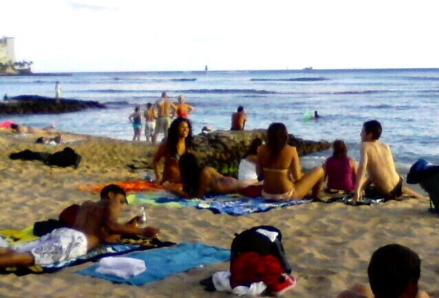 Waikiki Beach people - Women in Bikinis (phone cam)