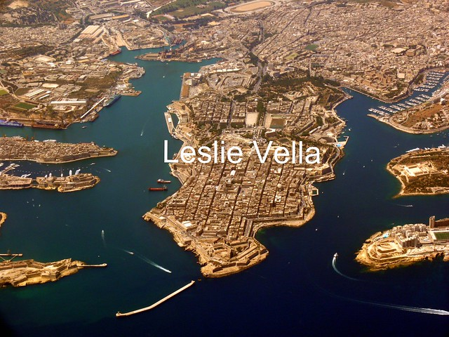 The city of Valletta, Malta with Grand Harbour to the left and Marsamxett Harbour to the right