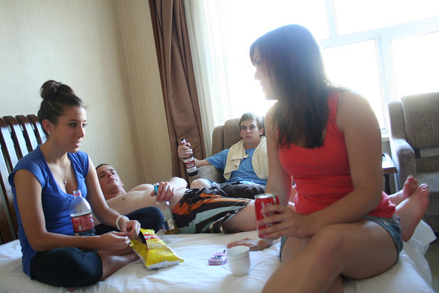 Four Americans celebrate the 4th of July in a hotel room in Inner ...