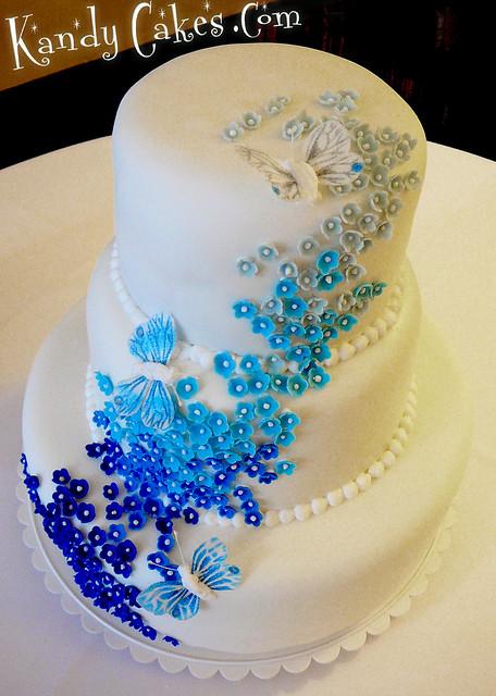 Blue Flowered Wedding Cake By Kandy Cakes Leeroy Rokkenr Hl Formerly Of