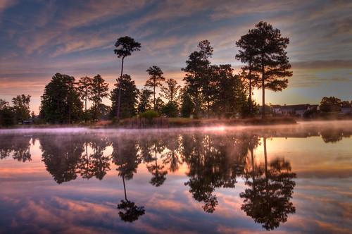sky mist lake nature misty clouds landscape country northcarolina coats pinetrees waterreflection harnettcounty