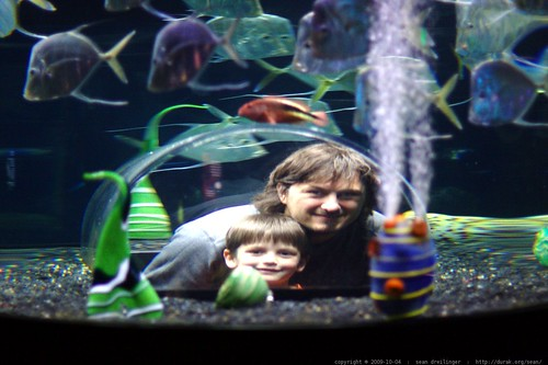 nick and sean beneath a huge fish tank    MG 5690