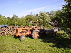 Tracteur agricole ancien et sa remorque