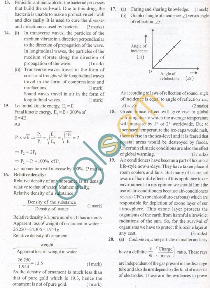 CBSE Solved Sample Papers for Class 9 Science SA2 - Set B
