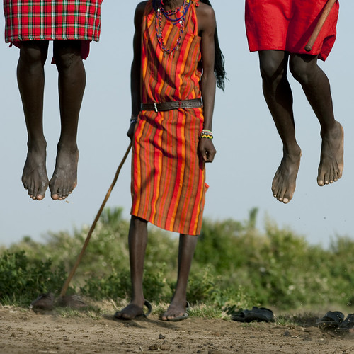 Masai warriors jumping during a dance - Kenya