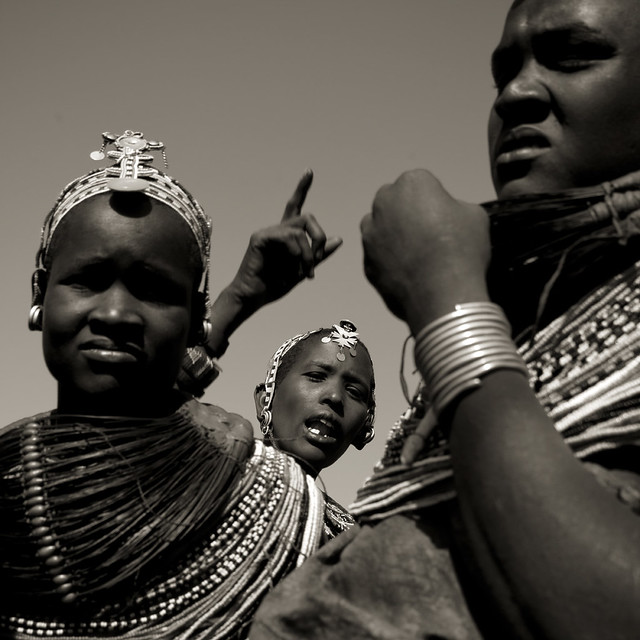 Rendille women with traditional finery during a dance - Kenya