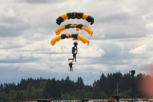 Three soldiers parachuting together
