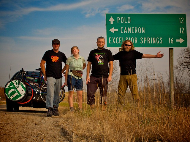 Four Norsemen, Kat and Old Greg near Polo, Missouri.