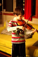 nick's bedtime ritual: practicing violin with his mo…