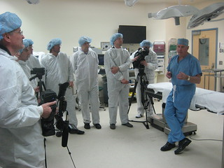 John Brock, M.D., surgeon-in-chief at Vanderbilt Children's Hospital, leads a tour of an operating room