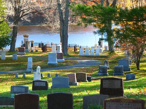 autumn trees cemetery graveyard maine statuary gravestones