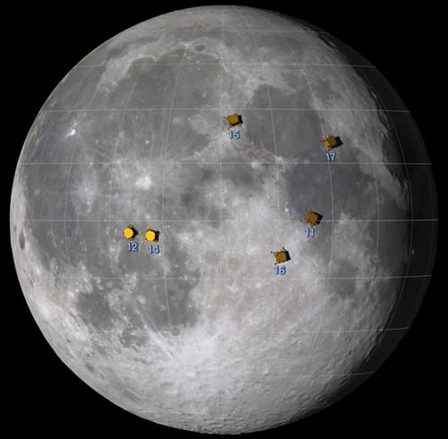Apollo Landing Sites on the Moon (NASA, Moon, 7/17/09 ...