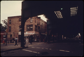 View From Under Elevated Train Tracks at Bushwick Avenue in Brooklyn, New York City...06/1974