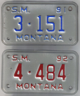 MONTANA 1991 and 1992 ---SPECIAL MOBILE plates