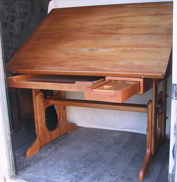 Amazing Vintage Wood Drafting Table