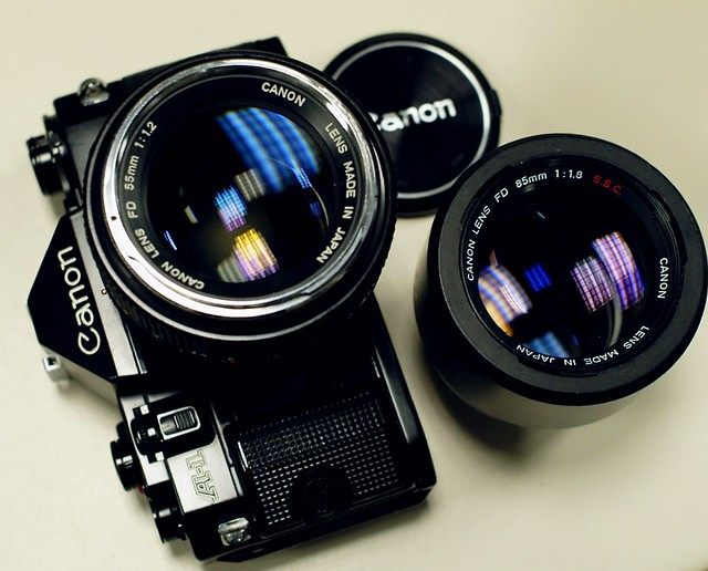 Canon A-1 with FD 55/1.2 and FD 85/1.8 S.S.C