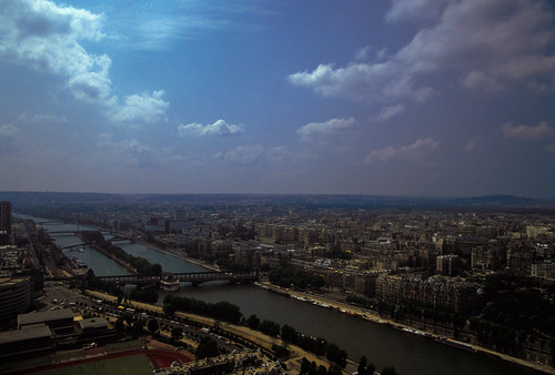 View of the Seine River from the Eiffel Tower - France, Paris - Summer 1985_A_040-2