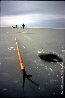 Estonian fishermen on the ice. Estonia.