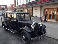 Austin 16/6 Berkeley Deluxe 1934 outside the Plaza Super Cinema Stockport opened 1932...