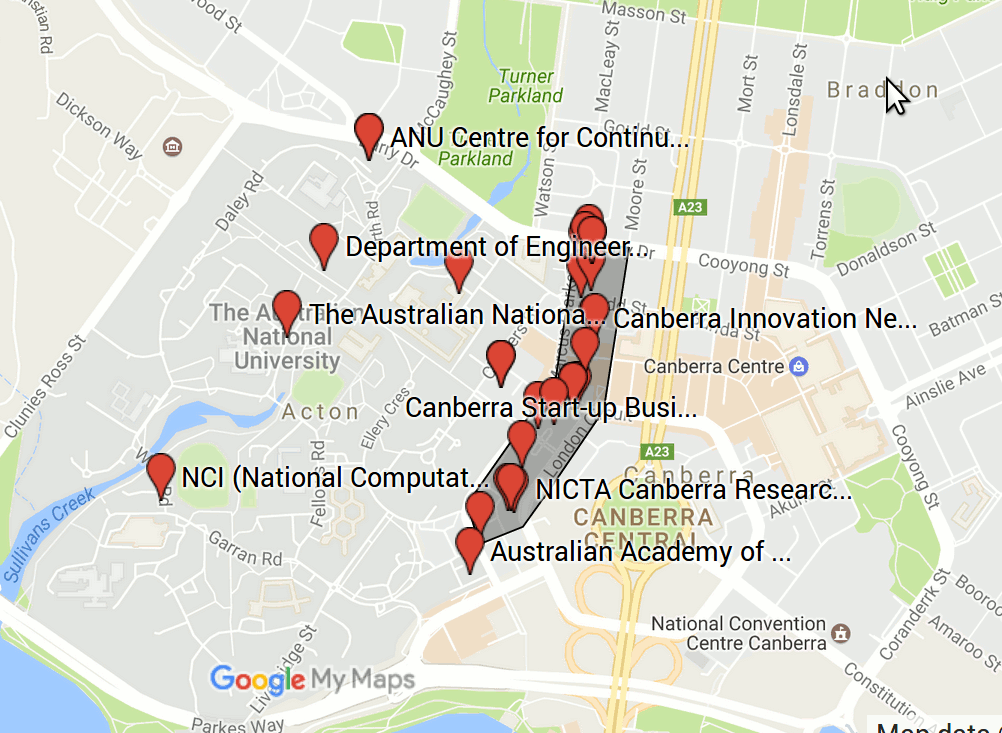 Map of tech businesses in west Canberra CBD next to ANU