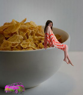sitting on a cornflake