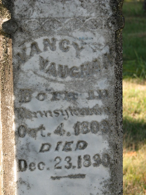 Gravestone inscription for Nancy Briceland Vaughan