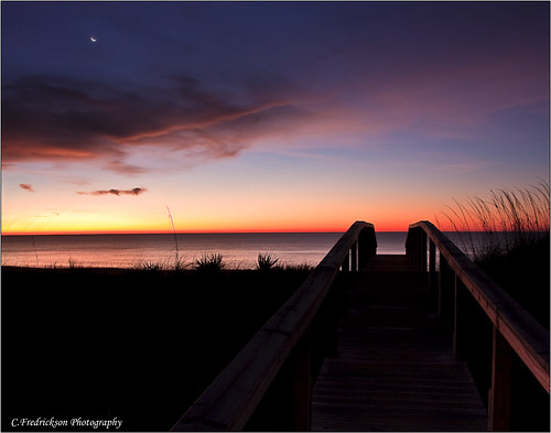 ocean november moon st sunrise island star george florida boardwalk fl 2009