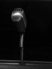microphone, white, light, monochrome photography, audio equipment, monochrome, darkness, black-and-white, lighting, black,