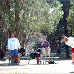 Jeff Panis throws a roller on hole #4 at Pueblo City Park.