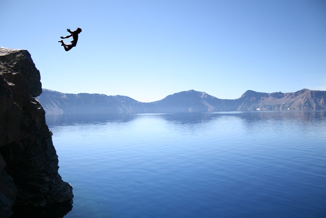 cliff, jumping, extreme, sports, mountain