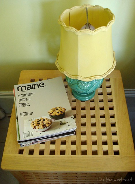 old lamp with snooty magazines