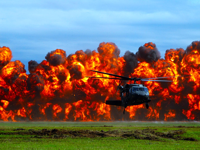 explosions and a helicopter