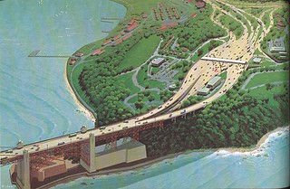 Double-deck Golden Gate Bridge: Presidio approach (1968)
