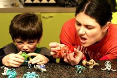 nick playing bakugan with his mom