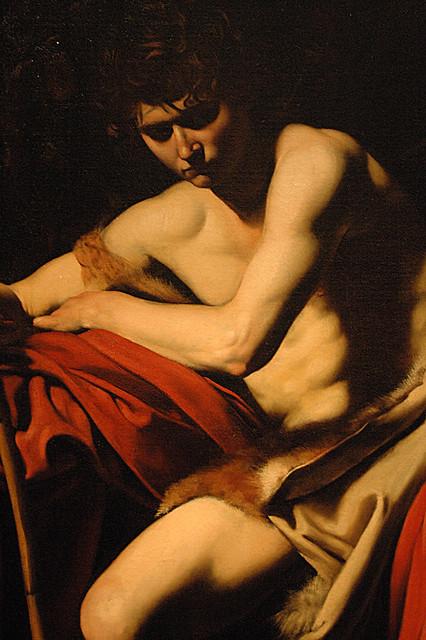 Caravaggio, Saint John the Baptist in the Wilderness (detail)