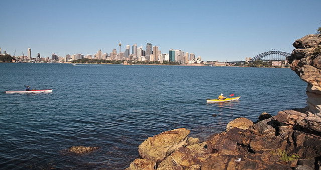 Kayaking on the harbour.