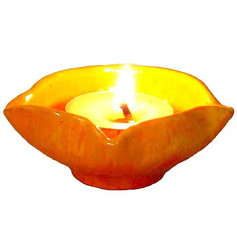 Indian Diwali Diya - Orange Creamsicle