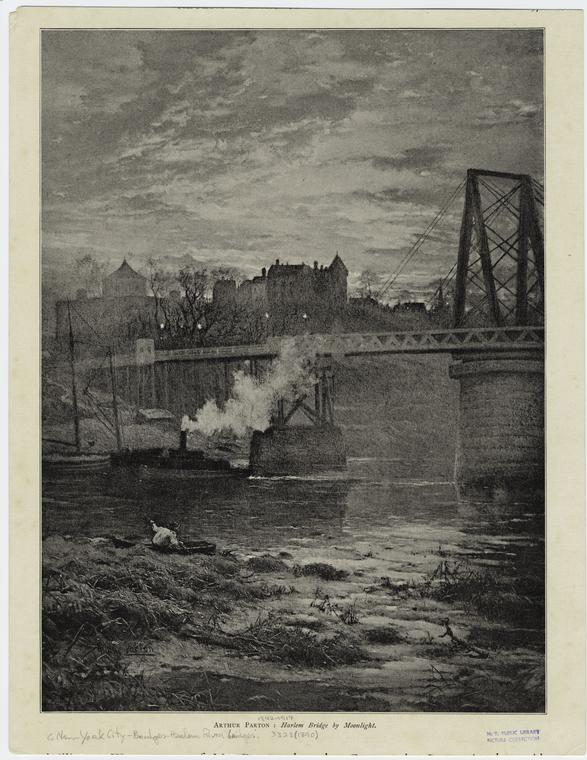 Arthur Parton : Harlem Bridge by moonlight.