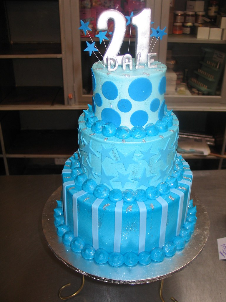 3 Tier 21st Birthday Cake In Shades Of Blue