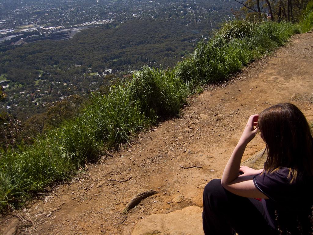 Jade overlooking Melbourne at Burkes lookout