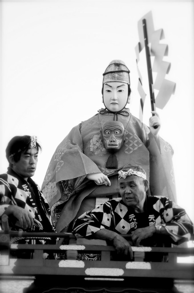 Men Riding A Dashi (Float) At Kawagoe Festival, Japan