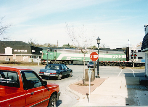 Westbound Burlington Northern / early Metra commuter local. Hindsdale Illinois. October 1989. by Eddie from Chicago